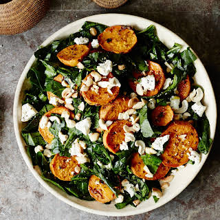 Shredded Collard Green Salad with Roasted Sweet Potatoes and Cashews.
