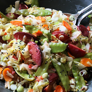 Roasted Cabbage, Plum & Snow Pea Salad