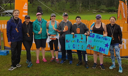 Incredible effort: Guy Coleman, Caz Wood, Megan Davies, Janelle Rees, Anna McGrath, Jade Williams, Abbey Johnson and Shelley Cocker at the Ragnar relay finish line at Glenworth Valley on Sunday.