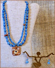 Photo: #172 BLUE LAGOON ~ БЛАКИТНА ЛАГУНА Copper enamel pendant, quartz, quartzite, rose gold plate set  * Available at OSEREDOK BOUTIQUE, Winnipeg, MB