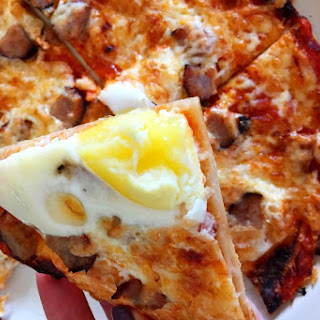 Easy Sausage and Egg Breakfast Tortilla Pizza.