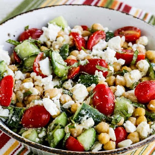 Cucumber and Tomato Salad with Marinated Garbanzo Beans, Feta, and Herbs Recipe