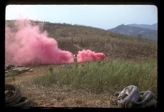 Photo: Smoke used on LZ Peanuts on landing area.  Bennie Koon picture.