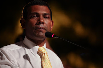 Photo: President Nasheed, Speaking at MDP Rally Artificial Beach. Photo: Maapu