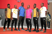 New Black Leopards players Mumuni Abubakar, Thabo Matlaba, Jonas Mendes, Thuso Phala, Siyabonga Zulu and Mogakolodi Ngele showing off the new kit.
