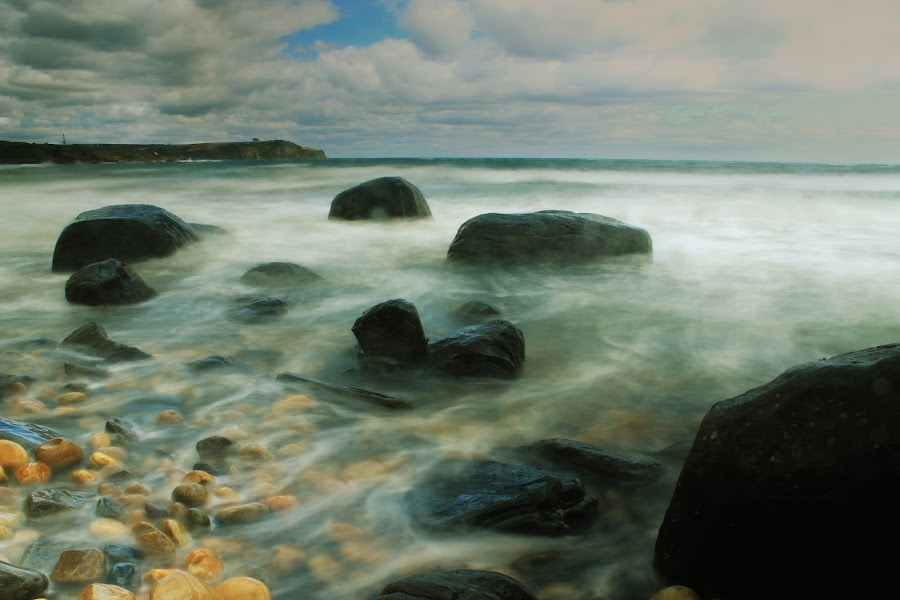 Rocky Beach by Jarrod Allison - Landscapes Beaches ( water, storm coming, rock beach, waterscape, tide, sea, seascape, beach, rocks )