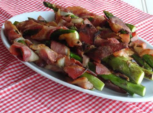 "Bacon Wrapped Grilled Asparagus ""This is such a simple, tasty recipe your..."