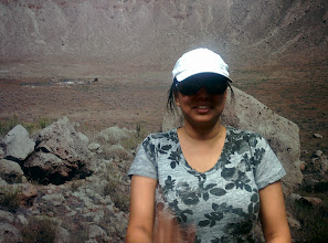 Photo: This is actually not the crater, it's a picture of the crater that Amy is standing in front of