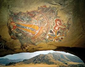 Photo: ca. 1992-1994, Kern County, California, USA --- Chumash Cave Paintings --- Image by © David Muench/CORBIS