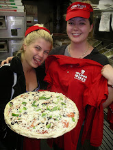 Photo: Stella`s 1st Pizza made, on training day. Her day one at Pino`s Pizza head quarters at 81st street,  on Coastal Highway Ocean City Maryland.
