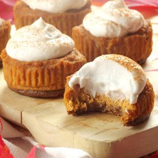 Mini Vegan Pumpkin Cheesecakes with Gingersnap Crusts.