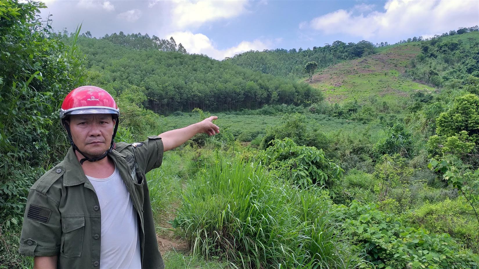 Ông Nguyễn Đình Tứ chỉ tay về hướng thửa đất được Nhà nước giao khoán nhưng lại bị người khác xâm chiếm