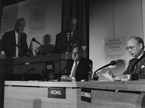 """Photo: DAVOS/SWITZERLAND, JAN 1990 - West German Chancellor Helmut Kohl and Klaus Schwab captured at the Annual Meeting of the World Economic Forum in Davos in 1990.Copyright <a href=""""http://www.weforum.org"""">World Economic Forum</a> (<a href=""""http://www.weforum.org"""">http://www.weforum.org</a>)"""