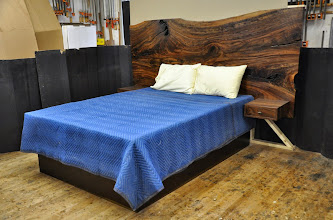Photo: the previous images were photoshopped from this raw photo, taken in our studio.  mainly, we straightened the image and removed the background clutter .. we do not have a photo studio space large enough for projects like this.  http://dorsetcustomfurniture.blogspot.com/2014/11/a-claro-walnut-slab-headboard-bed.html