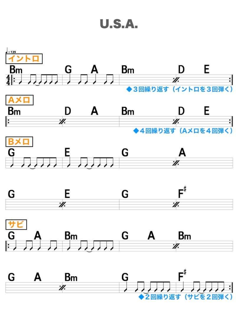 【練習用コード楽譜】 DA PUMP「U.S.A.」/ギター初心者(入門者)向け簡単スコアの楽譜1