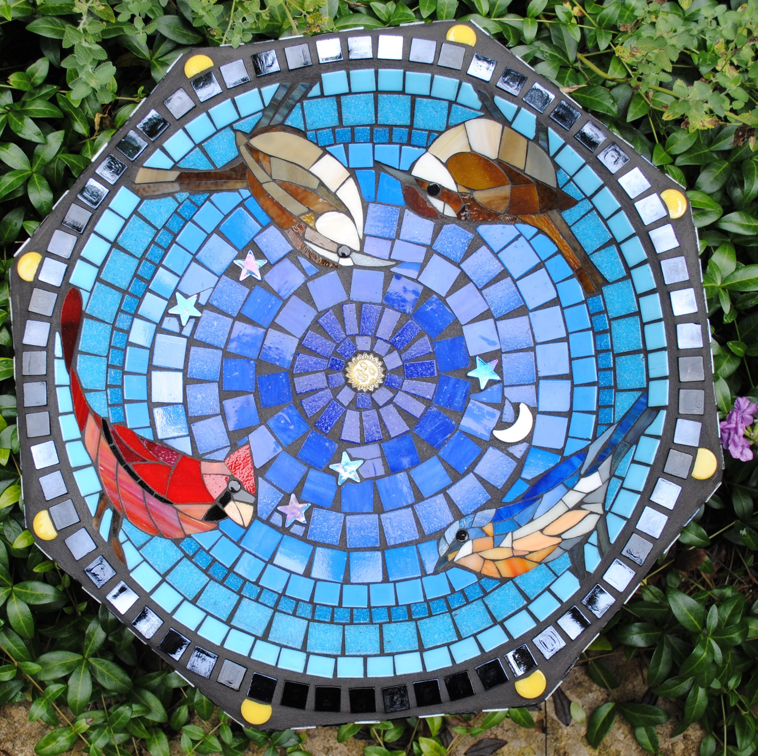 Songbirds Small Mosaic Birdbath by Brenda Pokorny