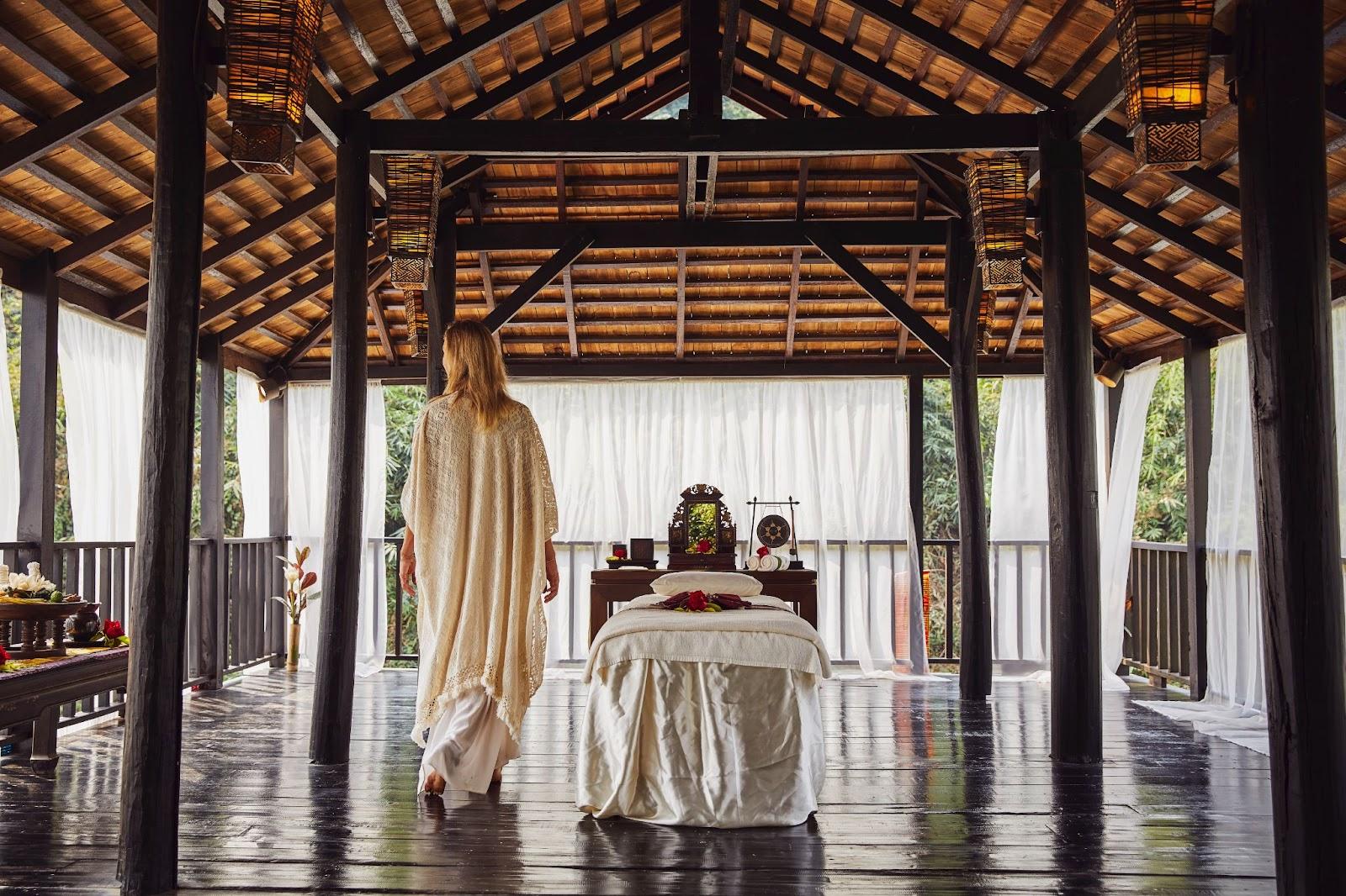 Thai massage at a beach wellness spa