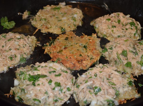 mix with hands and make into patties flat patties and place on hot skillet,...