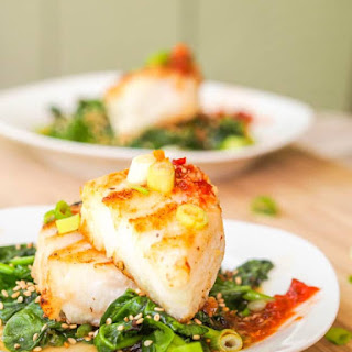 Chilean Sea Bass Recipe with Asian Glaze and Sesame Spinach {Gluten-Free, Dairy-Free}.