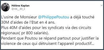 Tweet Hélène Kaplan L'usine de Philippe Poutou a déjà touché 30 millions d'euros d'aides de l'Etat en 4 ans.