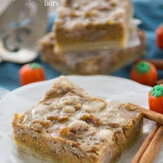 Pumpkin Pie Bars with pecan crumble.
