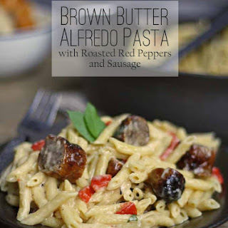 Brown Butter Alfredo with Roasted Red Peppers and Sausage