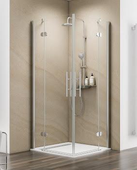 Accès d'angle avec portes pivotantes-pliantes, 80 x 80 cm, 90 x 90 cm ou 100 x 100 cm