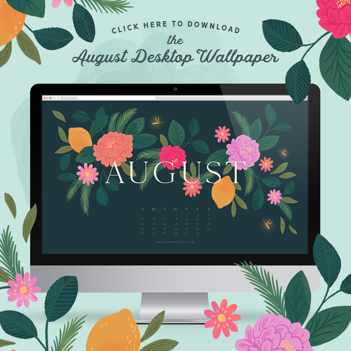 August 2018 Illustrated Desktop Wallpaper Download ShopPaperRavenCo