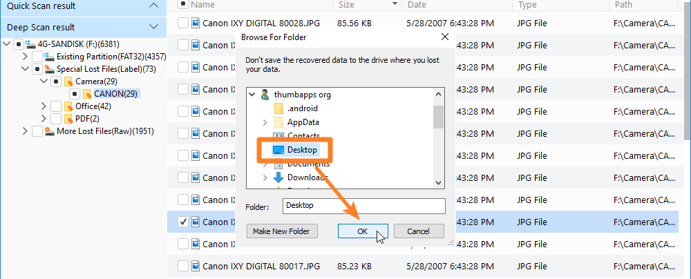 Recover to different partition