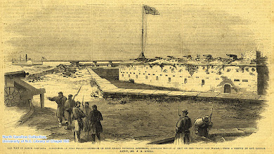 """Photo: """"Surrender of Fort Macon -- exterior on side facing National batteries, showing effect of shot on the galcis and walls."""" Frank Leslie's Illustrated Newspaper, May 17, 1862, p. 49."""