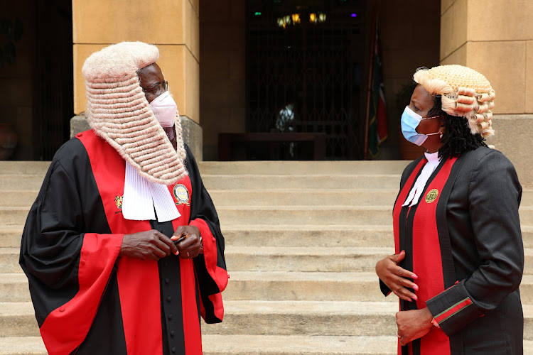 Chief Justice David Maraga with Judiciary Registrar Anne Amadi at the Supreme Court of Kenya on Friday, July 3, 2020.