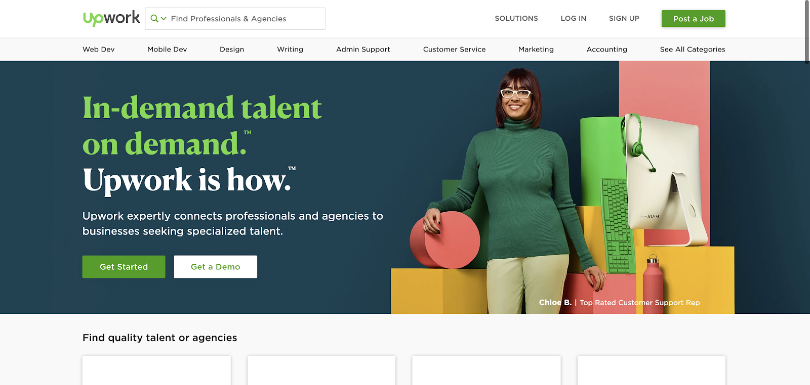 The Upwork homepage lets you search for website designers, web developers, and other online marketing services.