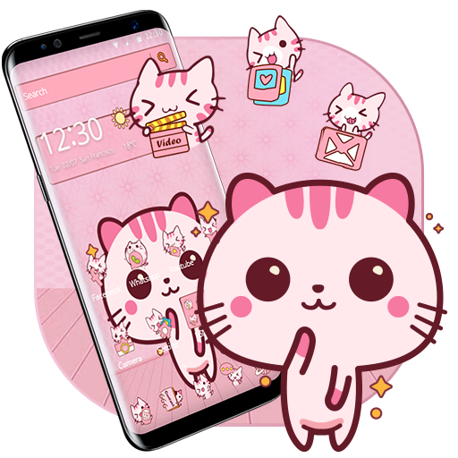 Cute Pink Kitty Theme Kawaii Sweet icon file APK for Gaming PC/PS3/PS4 Smart TV