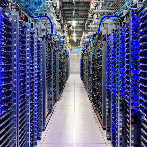 Server rack in a Google data center