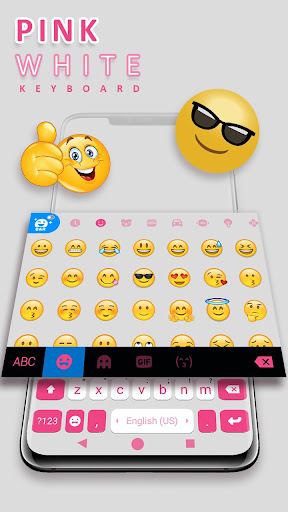 Pink White Chat Keyboard Theme ss3