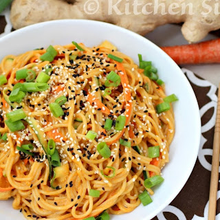 Asian Sesame Noodles with Zucchini and Carrot Ribbons