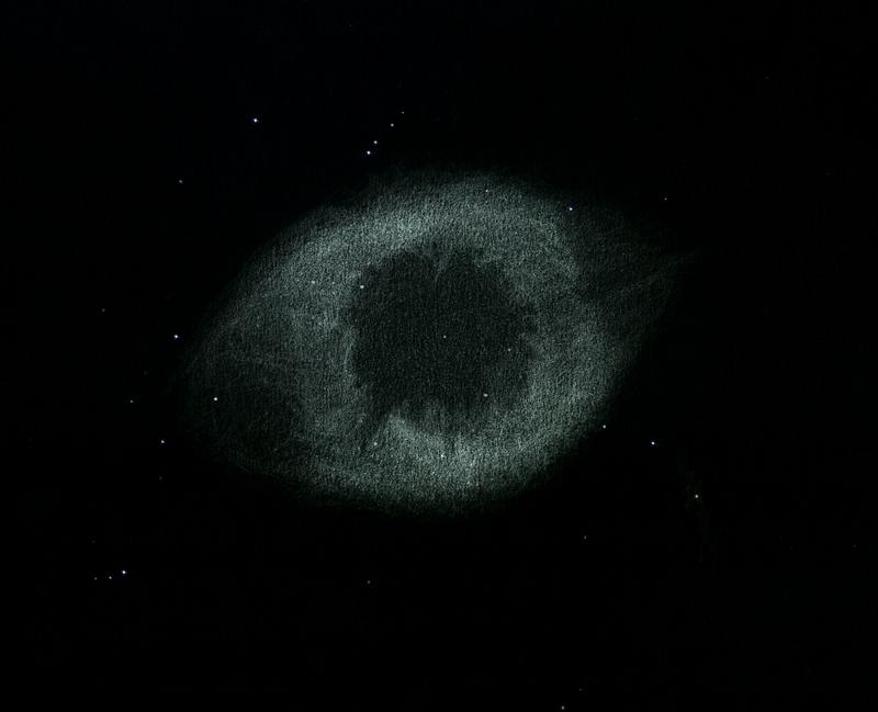 Photo: Hélix (NGC 7293), vue en OIII au Restefond en aout 2015.  Détails grapillés sur plusieurs nuits et dans deux télescopes : T406 à 88X et T600 à 135X.