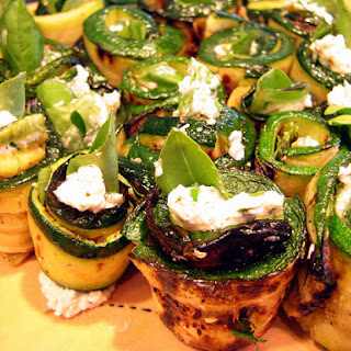 Goat Cheese Stuffed Zucchini Rolls