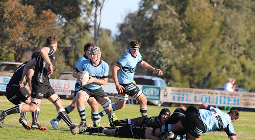 Narrabri Blue Boars vice-captain Sam Clements runs at the Moree Bulls defence last Saturday at Dangar Park.