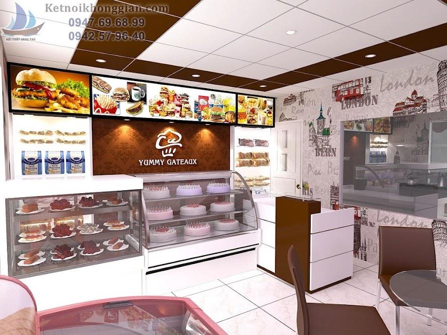 thiết kế cửa hàng bánh ngọt tinh tế, hài hòa