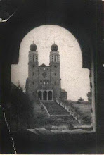 Photo: Widok na nowych kościół zrobiony prawdopodobnie z okna starego kościoła w drugiej połowie lat 60-tych XX wieku.