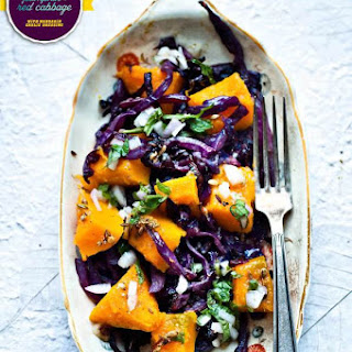 Roasted Pumpkin + Red Cabbage {with a mandarin orange garlic dressing}