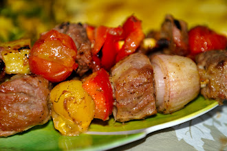 Photo: I work on weekends so my spousal unit (SU) stays home with the kids while I'm away.  Last Saturday was no different. I was out the whole day and was tired and hungry by the time I got home. I was greeted with a wonderful aroma wafting from the dining room. SU made beef kebabs, grilled pineapples, roasted potatoes and beans for supper. The tomatoes, beans and assortment of herbs he used were from our backyard garden.  I think we had ice cream and blueberry crumble for dessert. Yes, my SU is amazing.  #foodporn #foodfriday with thanks to +Natty Netsuwan +D. DeMonteverde #colorsonfriday curated by +Christina Lihani +E.E. Giorgi +Erin Henderson +Gilmar Smith