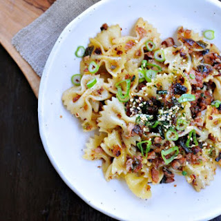 Spicy Caramelized Spam + Scallion Pasta.