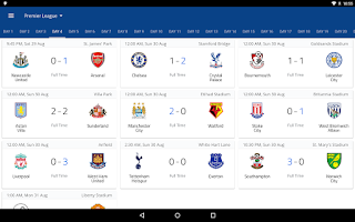Screenshot of EPL 2015/2016