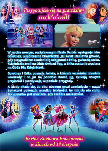 Tył ulotki filmu 'Barbie Rockowa Księżniczka'
