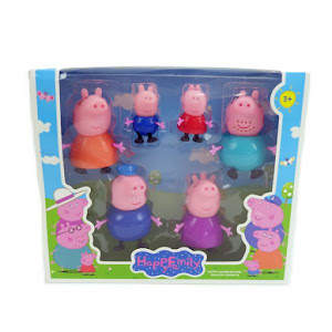 Set 6 figurine Peppa Pig, purcelusa Peppa si familia