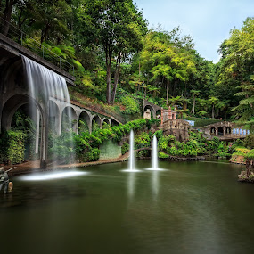 Beautiful waterfall at Monte Palace Tropical Garden by Zoltan Duray - Landscapes Waterscapes ( europe, waterfalls, park, waterfall, lake, forest, monte, travel, madeira, statue, madeira island, funchal, fountain, world_is_green, portugal, boy, garden, , garyfonglandscapes, holiday photo contest, photocontest, panorama, panoramic, stitching, landscape, indoor, outdoor, challenge, competiton, long, exposure, daytime, edition )