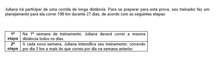 Representando por x a distância que deverá ser percorrida, por dia, na 1ª semana de treino, a equação que descreve o planejamento do treinador para a preparação de Juliana é