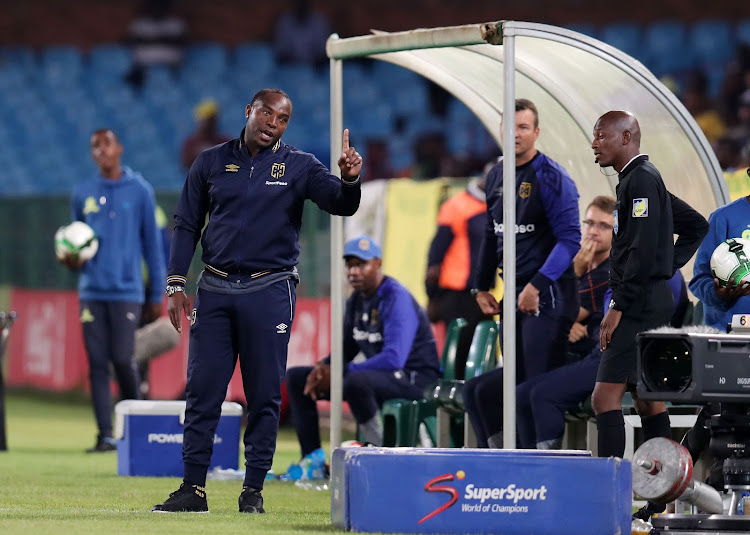 Cape Town City FC head coach Benni McCarthy gesturing to match officials during the Absa Premiership 2017/18 match against the home side Mamelodi Sundowns at Loftus Versveld Stadium, Pretoria South Africa on 19 December 2017.